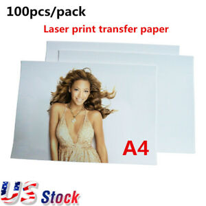 Us 100pcs A4 Dark Laser Print Transfer Pape For Transfer Dark Color T shirt