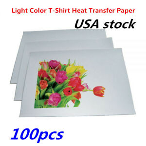 Us 100pcs A4 Light Color T shirt Heat Transfer Paper For Transfer Light Cloth