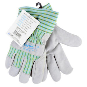 Warm Lining Split Cow Leather Work Glove 10 5 Inch Garden Safety Glove 12 Pairs