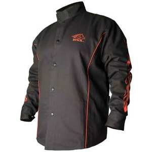 Black Stallion Bx9c Bsx Fr Cotton Welding Jacket Black With Flames Medium