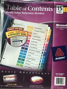 10 avery Ready Index Table Of Contents Dividers 15 tab Set 6 Sets 11197 New