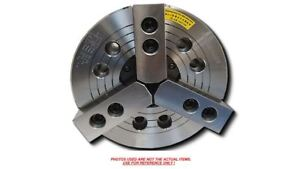 3 jaw 8 Power Chuck Wedge Type Thru hole With A2 5 Adapter Plate K 208a05 n b