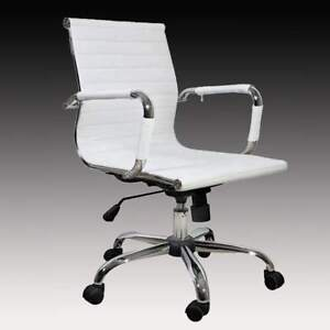 White Leather Office Chair Modern Conference Room Upholstered Adjustable