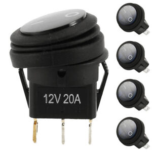 5x 12v 20a Waterproof Round Toggle On Off Rocker Switch Car Auto Boat Spst