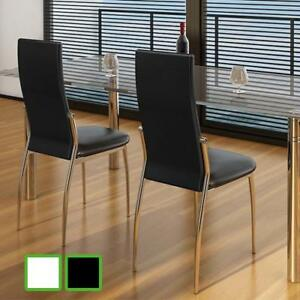 Slim Line Dining Side Chairs High Back Artificial Leather Black white 2 4 Pcs