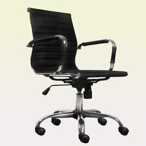 Black Leather Office Chair Modern Conference Room Upholstered Adjustable Tilting