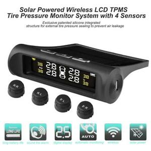 Solar Tpms Car Tire Pressure Wireless Lcd Monitor Alarm System 4 External Sensor