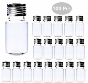 100pcs 10ml Sample Vials With Thread Top Clear Glass Bottles Caps Lab Hplc
