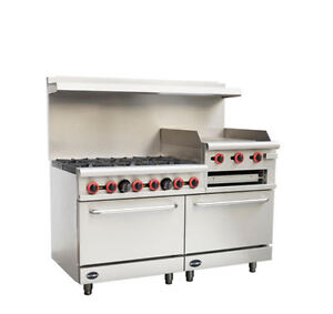 60 Gas Range griddle Combo 6 Burners 24 Griddle broiler