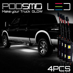 Underbody Rock Led Lights White Accent Under Car Neon Glow For Chevy Silverado
