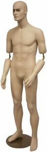 Full Body Male Mannequin W Movable Elbows short Version Realistic W Base