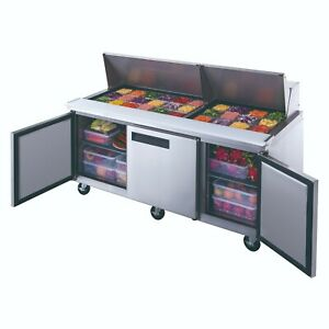 Dukers Dsp72 30m s3 Commercial 3 door Refrigerated Food Prep Table With Mega Top