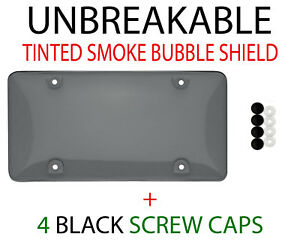 1 X Tinted Clear Smoke Protector License Plate Frame Shield Cover Front