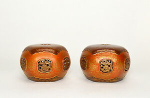 Pair Of Chinese Iron Red Ground Open Work Porcelain Scholar S Paper Weight