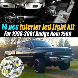 14pc Super White Interior Led Light Bulb Kit Pack For 1998 2001 Dodge Ram 1500