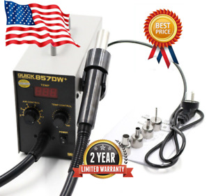Quick 857dw Adjustable Hot Air Heat Gun Smd Soldering Rework Station 580w 110v