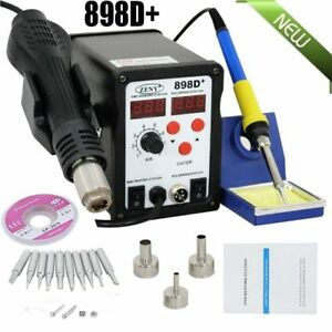 898d 2in1 Smd Rework Soldering Station Solder Esd Tips Bga Hot Air Nozzles 110v