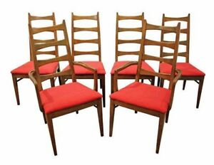 Set Of 6 Mid Century Danish Modern Walnut Bow Tie Dining Chairs 1