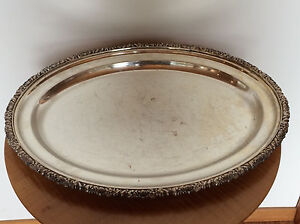 Antique Vintage English Silverplate Serving Tray Silver Plated Oval Floral Rim