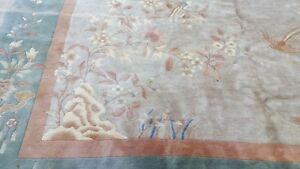 Antique 9 8 X 12 4 Art Deco Chinese Rug Vintage Green
