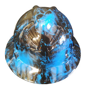 Hard Hat Msa Full Brim Blue Flaming Skulls W Free Brb Customs T shirt
