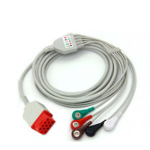 Bionet Bm5 One peice Ecg Ekg Cable 5 Lead Wire Snap Aha 12 Pins