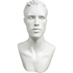 Mn 513 White Male Mannequin Abstract Head Form Display With Bust And Ears