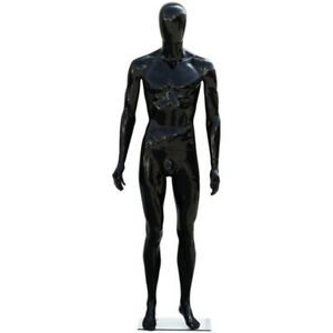 Mn 439 Glossy Black Plastic Egghead Male Full Size Mannequin With Removable Head