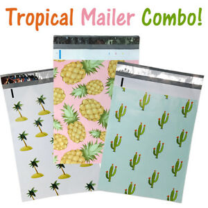 10x13 Designer Tropical Poly Mailers Combo Pack Quality Shipping Bag Envelopes