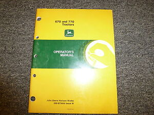 John Deere 670 770 Compact Utility Tractor Owner Operator Manual Omm79606