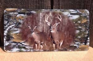 Deer Buck Camouflage Novelty License Plate Hunting Metal Auto Car Truck Tag