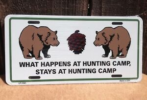 What Happens Hunting Camp Stays Wholesale Novelty License Plate Bar Wall Decor
