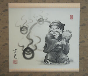 Hanging Scroll Painting Daikoku With Hammer Jewels Japan