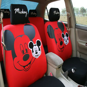 10 Pcs Cute Mickey Mouse Car Seat Cover Cartoon Universal For Women Girl Styling