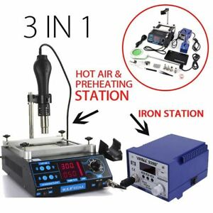 Soldering Rework Station Complete Set Hot Air Gun Iron Holder Tips Nozzles Us Ma