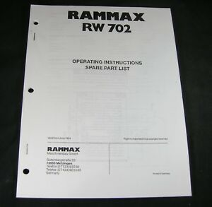 Rammax Rw702 Vibratory Trench Roller Operating Parts Instruction Manual List Mq