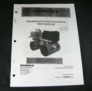 Rammax Rw 1403 Vibration Trench Roller Part Instruction Operating Service Manual