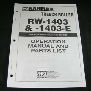 Rammax Rw1403 Rw1403e Vibratory Vibration Trench Roller Operation Parts Manual