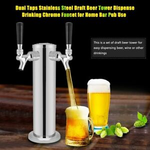 Double 2 Stainless Steel Bottled Beer Tower Kegerator Double Chrome Faucet