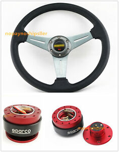 350mm Ti Dish Style Flat Dish Racing Steering Wheel Red Quick Release Qr02