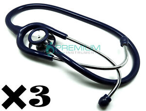 3 Stethoscopes Dual head Classic Lightweight Clinical Grade Medical blue 2018