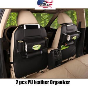 2 X Car Seat Back Bag Organizer Storage Ipad Phone Holder Pocket Black Leather