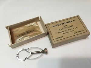 Vintage J Mehrlust Dental Matrix Retainer W 1 Dozen Bands In Box