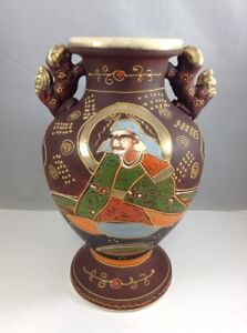 Japanese Satsuma Vase Deep Red Gold Accents Figures Signed Made In Japan