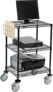 Nexel 3 shelf Mobile Wire Printer Stand With Document Holder 24 w X 18 d X