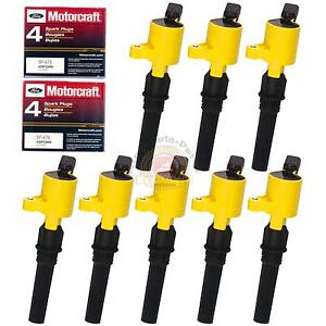 8 Pack Ignition Coil Dg508 Yellow Motorcraft Spark Plug Sp479 For Ford Lincoln