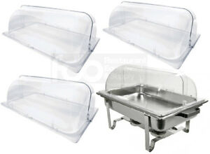 4 Pack Full Size Roll Top Chafing Dish Clear Plastic Pan Display Cover Chafer
