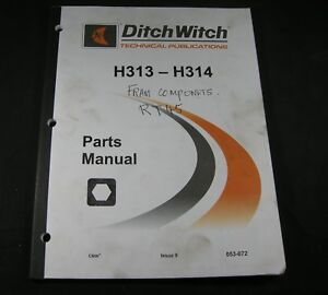 Ditch Witch H313 H314 Parts Manual Book Digging Attachments For 3700 Trencher