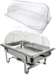 2 Pack Full Size Roll Top Chafing Dish Clear Plastic Pan Display Cover Chafer
