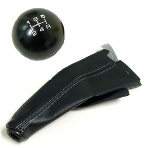 Black Round Billet Racing Shift Knob Boot Combo For Subaru 5 Speed Mt